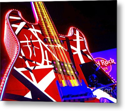 Hard Rock Glowing Guitar Metal Print by Gem S Visionary