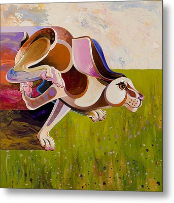 Metal Print featuring the painting Hare Borne by Bob Coonts