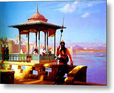 Harem In The Kiosk The Guardian Of The Seraglio 1870 Metal Print by MotionAge Designs