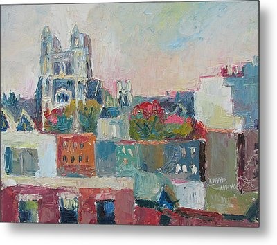 Metal Print featuring the painting Harlem Rooftops by Linda Novick