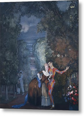 Harlequin And A Lady Metal Print