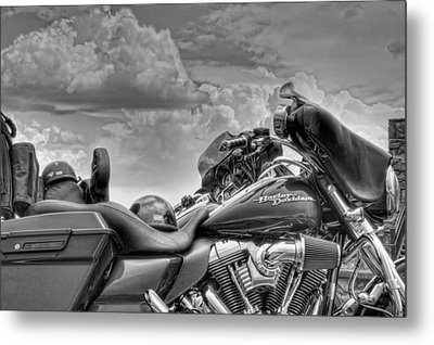 Harley Black And White Metal Print by Ron White