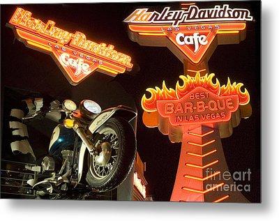 Harley Davidson Cafe Metal Print by Bob Christopher