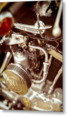 Metal Print featuring the photograph Harley Davidson Closeup by Carsten Reisinger