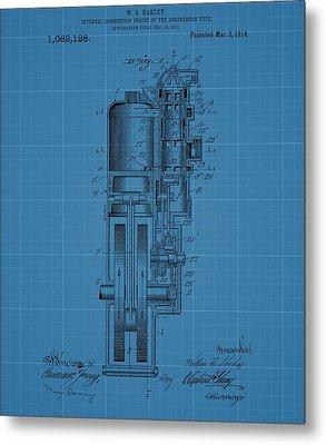 Harley Davidson Engine Blueprint Metal Print