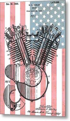 Harley Davidson Engine Patent American Flag Metal Print
