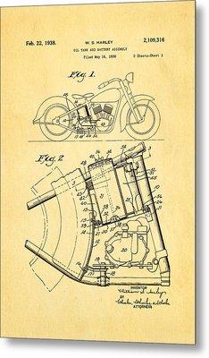Harley Davidson Horseshoe Oil Tank Patent Art 1938 Metal Print by Ian Monk