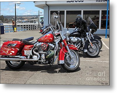 Harley-davidson Motorcycle On The Municipal Wharf At Santa Cruz Beach Boardwalk California 5d23817 Metal Print by Wingsdomain Art and Photography