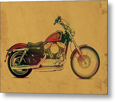 Harley Davidson Motorcycle Profile Portrait Watercolor Painting On Worn Parchment Metal Print