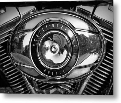 Harley-davidson Police B And W Metal Print by Cricket Hackmann