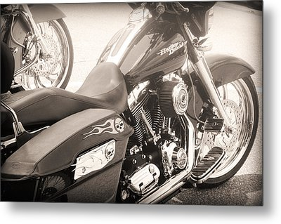 Harley Davidson With Flaming Skulls Metal Print by Kelly Hazel
