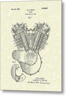 Harley Engine 1923 Patent Art Metal Print by Prior Art Design