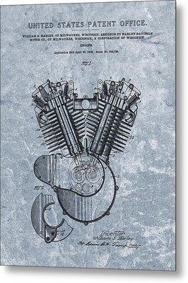 Harley Engine Patent Cool Blue Metal Print