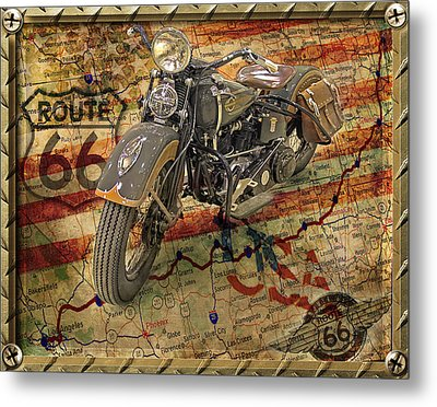 Harley On 66 Metal Print
