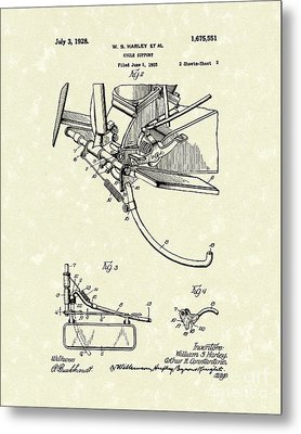 Harley Support 1928 Patent Art Metal Print by Prior Art Design