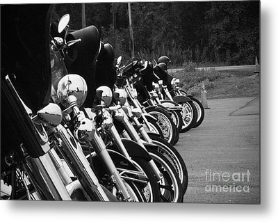 Metal Print featuring the photograph Harleys All In A Row by Jim Lepard