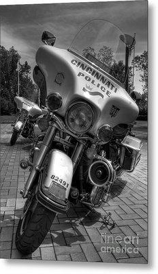 Harleys In Cincinnati Bw Metal Print by Mel Steinhauer