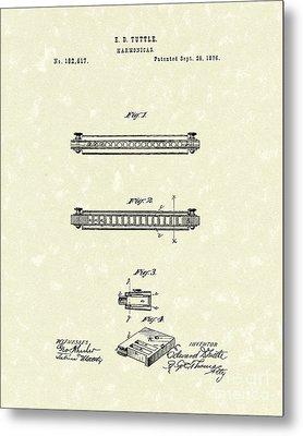 Harmonica 1876 Patent Art Metal Print by Prior Art Design