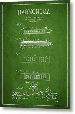 Harmonica Patent Drawing From 1897 - Green Metal Print
