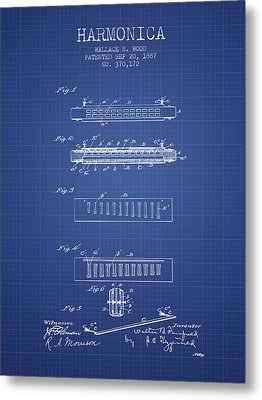 Harmonica Patent From 1897 - Blueprint Metal Print