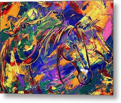 Metal Print featuring the painting Harmony Horses by Jennifer Godshalk