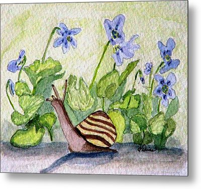 Metal Print featuring the painting Harold In The Violets by Angela Davies