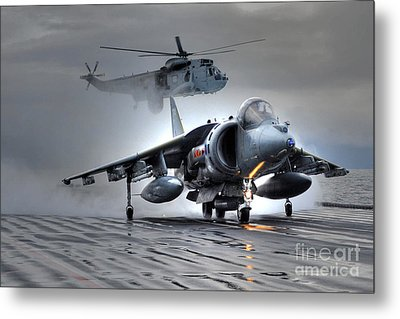 Harrier Gr9 Takes Off From Hms Ark Royal For The Very Last Time Metal Print by Paul Fearn