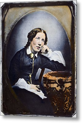 Harriet Beecher Stowe (1811-1896). American Abolitionist And Writer. Oil Over A Daguerrotype, C1852 Metal Print by Granger