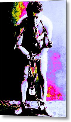 Harry Houdini - 20130208 Metal Print by Wingsdomain Art and Photography