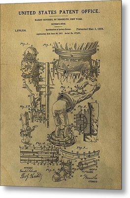 Harry Houdini's Diving Suit Patent Metal Print by Dan Sproul