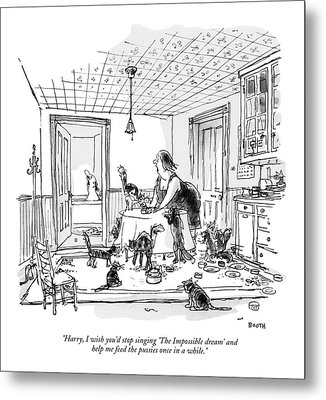 Harry, I Wish You'd Stop Singing 'the Impossible Metal Print by George Booth