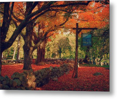 Hartwell Tavern Under Orange Fall Foliage Metal Print by Jeff Folger