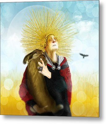 Metal Print featuring the digital art Harvest Crone by Penny Collins