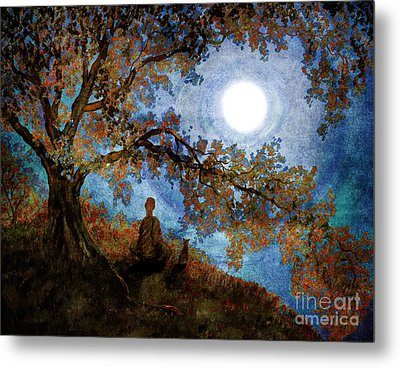 Harvest Moon Meditation Metal Print by Laura Iverson
