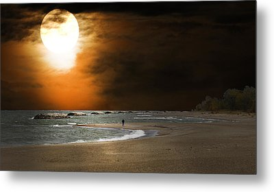 Harvest Moon On The Beach Metal Print