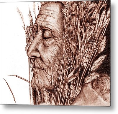 Metal Print featuring the drawing Harvest by Penny Collins