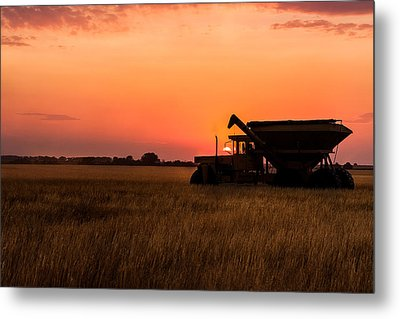 Metal Print featuring the photograph Harvest Sunset by Jay Stockhaus