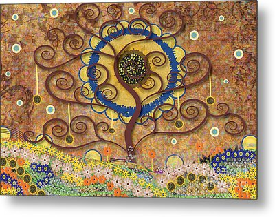 Metal Print featuring the tapestry - textile Harvest Swirl Tree by Kim Prowse