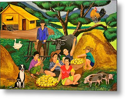 Metal Print featuring the painting Harvest Time by Lorna Maza