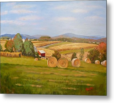 Harvest Time On Berger Hill Metal Print