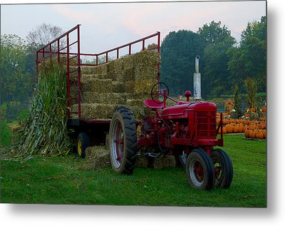 Harvest Time Tractor Metal Print by Bill Cannon