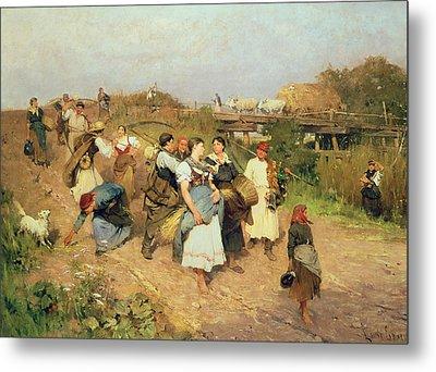 Harvesters On Their Way Home Metal Print by Lajos Deak Ebner