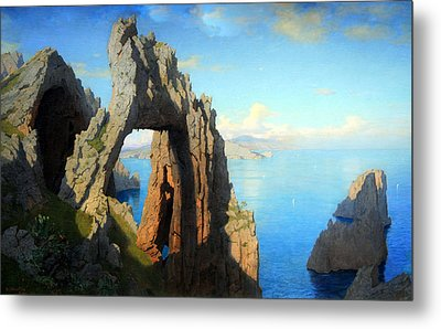 Haseltine's Natural Arch At Capri Metal Print by Cora Wandel