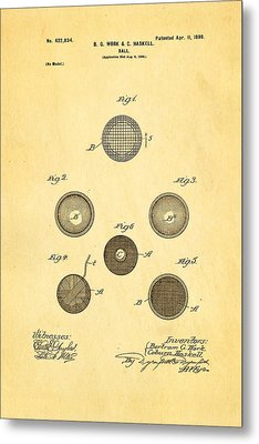 Haskell Wound Golf Ball Patent 1899 Metal Print by Ian Monk
