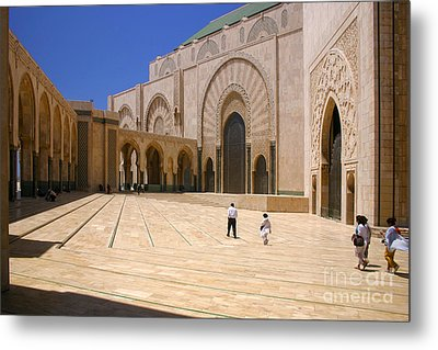 Metal Print featuring the photograph Hassan II Mosque Grand Mosque Sour Jdid Casablanca Morocco by Ralph A  Ledergerber-Photography