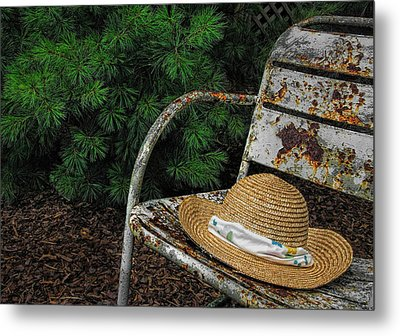 Hat On Chair1 Metal Print by Tom  Reed