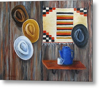 Metal Print featuring the painting Hats by Roseann Gilmore