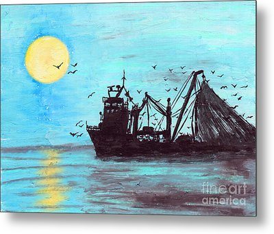 Hauling In Metal Print by R Kyllo