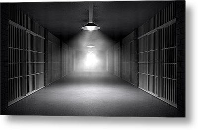 Haunted Jail Corridor And Cells Metal Print by Allan Swart