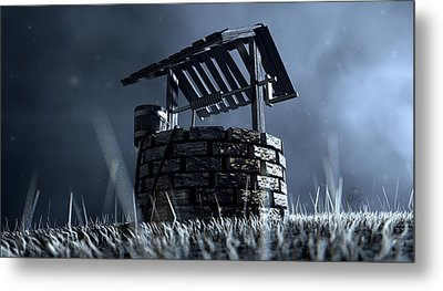 Haunted Wishing Well Metal Print